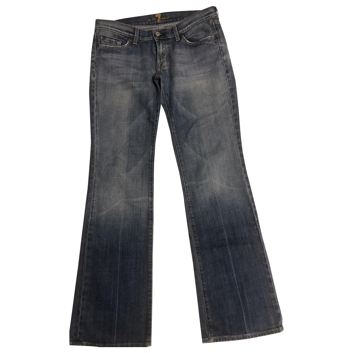 7 For All Mankind \N Blue Cotton - elasthane Jeans for Women 30 US