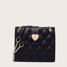 Heart Graphic Quilted Shoulder Bag