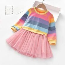 Kleid mit Regenbogenstreifen und Netzeinsatz