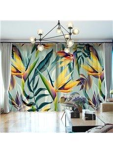 3D Artistic Colors Leaves Printed Decorative Chenille 2 Panels Custom Sheer