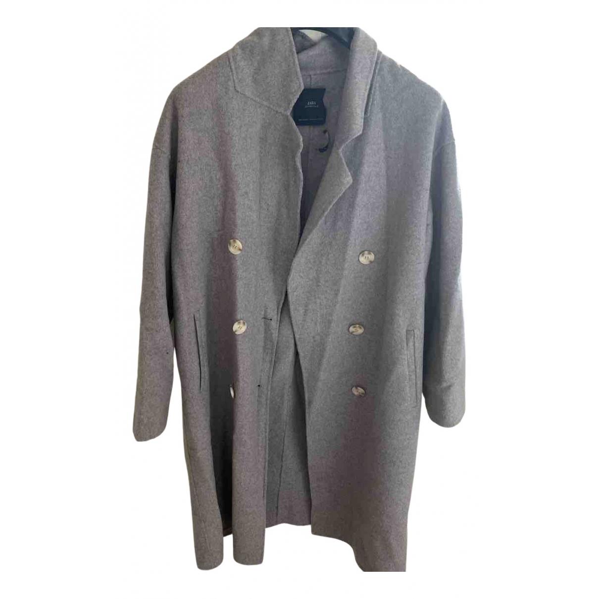 Zara - Manteau   pour femme en coton - gris