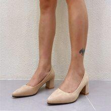 Minimalist Chunky Court Heels