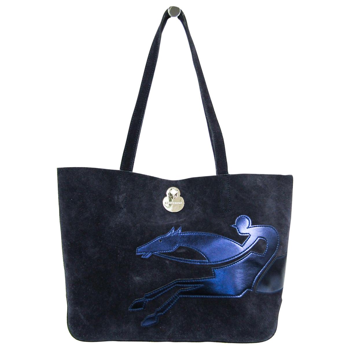 Longchamp - Sac a main   pour femme en cuir - marine