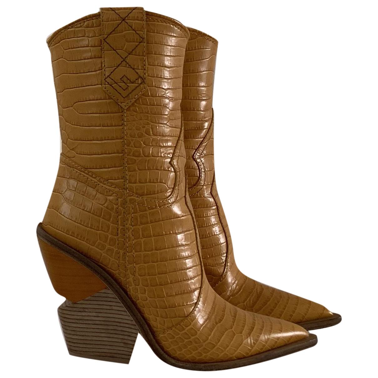 Fendi - Bottes Cowboy pour femme en crocodile - jaune