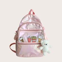 Girls Holographic Cartoon Decor Backpack