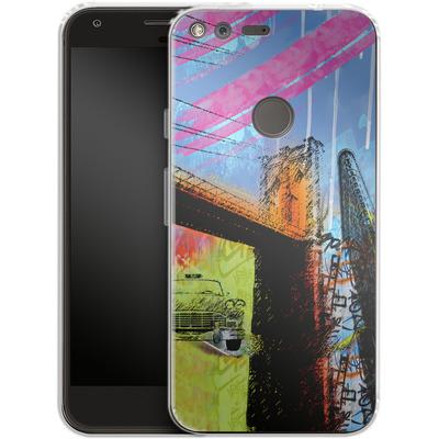 Google Pixel Silikon Handyhuelle - Pop Brooklyn Bridge von Mark Ashkenazi