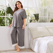 Conjunto de pijama top de hombros caidos con pantalones bajo con encaje - grande