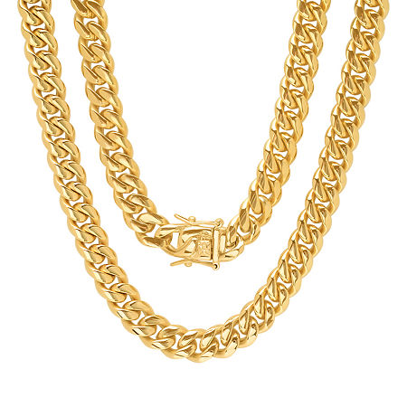 Stainless Steel 24 Inch Semisolid Box Chain Necklace, One Size , No Color Family