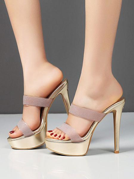 Milanoo Women\s Sandals Stiletto Heel Sexy Slip-On Sandals Round Toe Light Gold Women\s Sandals