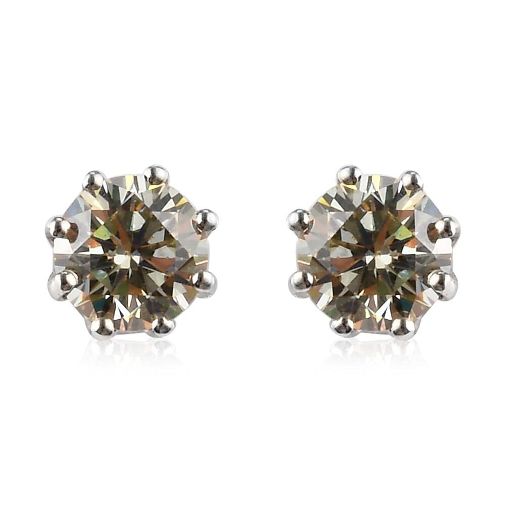 Platinum Over Sterling Silver Strontium Titanate Stud Earrings Ct 2.5 (Multi)