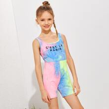 Girls Slogan Graphic Tie Dye Tank Romper