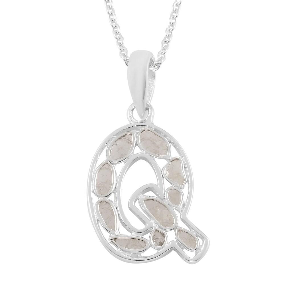 925 Sterling Silver Polki Diamond Pendant Necklace Size 20 Inch Ct 0.5 - Size 20'' (Size 20'')