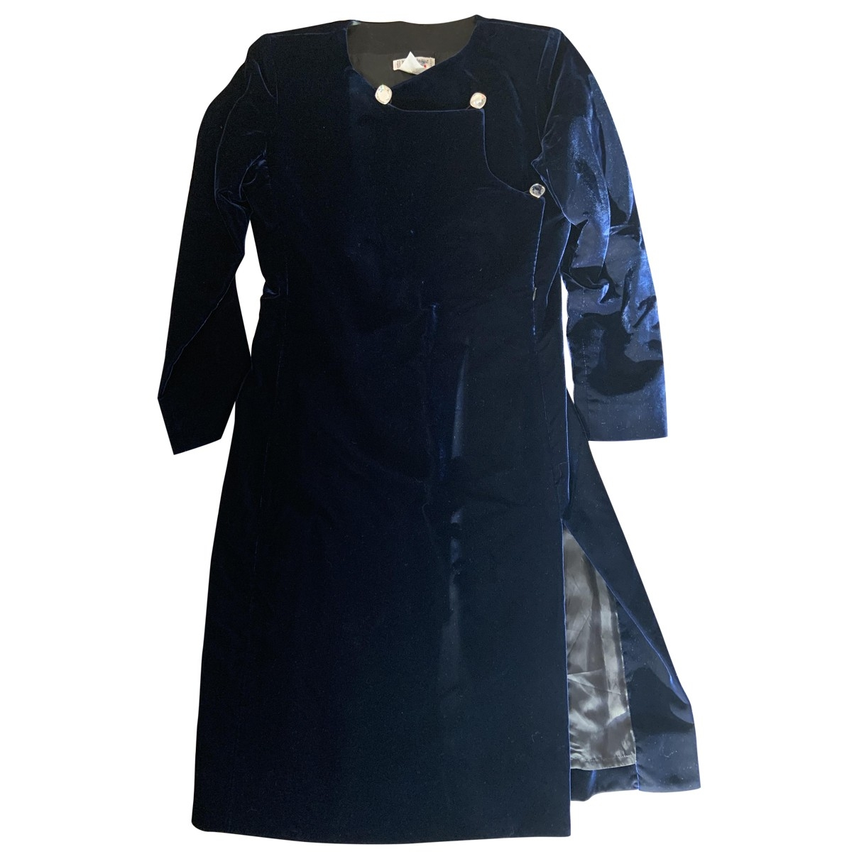 Yves Saint Laurent - Robe   pour femme en velours - bleu