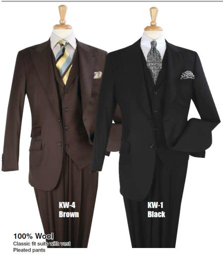 Men Pure White or Navy Blue 1 Wool Vested 3 Piece Double Breasted Suit