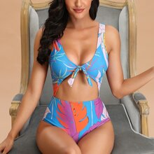 Tropical Cut-out Knot Front One Piece Swimsuit