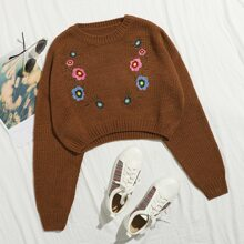 Drop Shoulder Floral Embroidery Crop Sweater