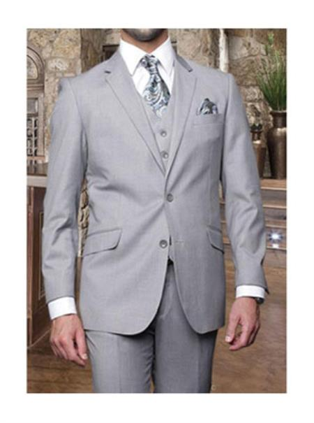 Statement Mens Light Grey 3 Piece 2 Button Italian Designer Suit