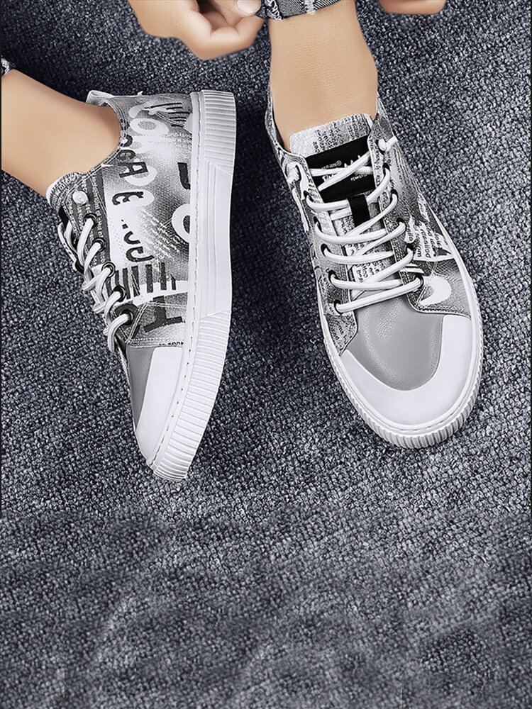Women Casual Graffiti Pattern Lace Up Flat Canvas Shoes