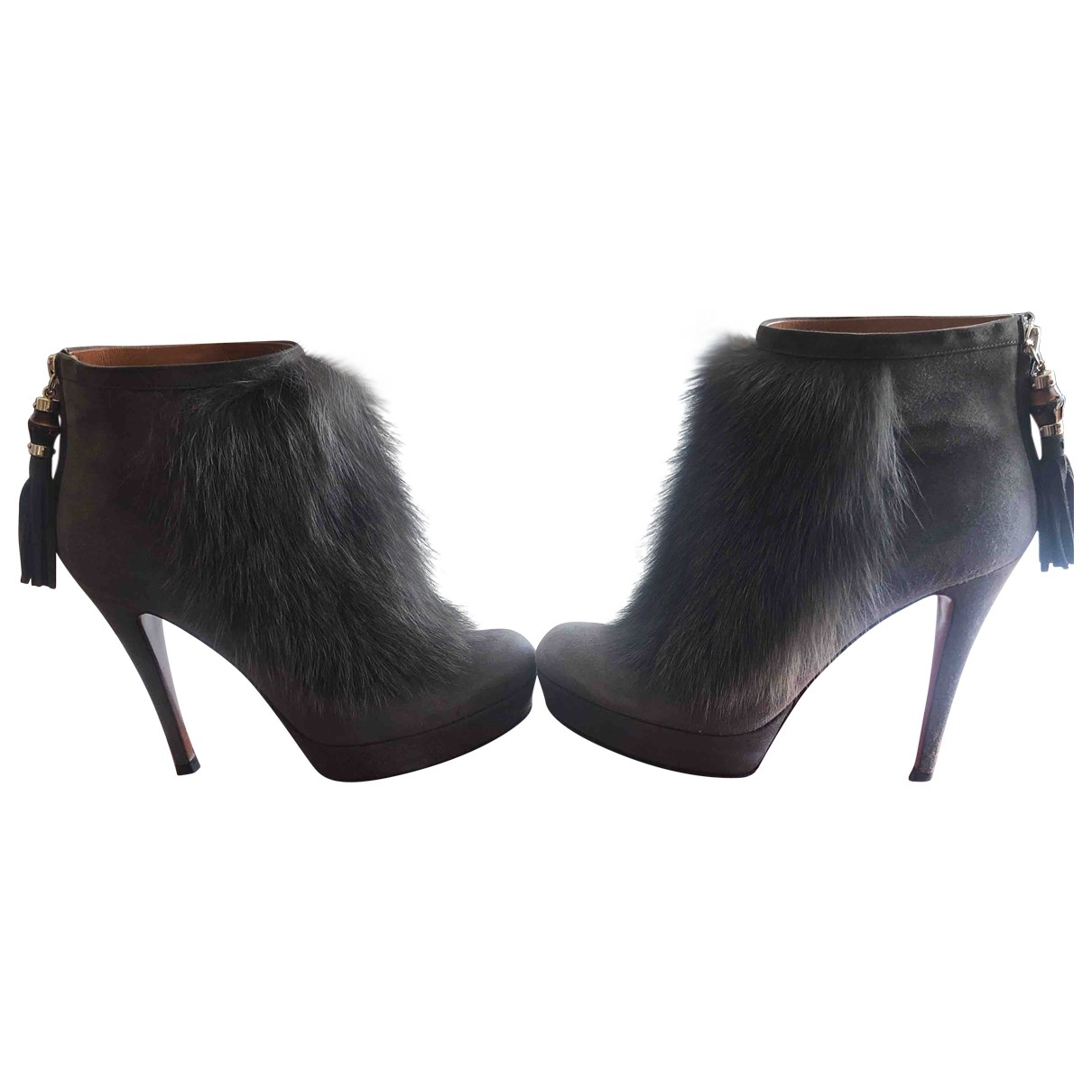 Gucci \N Grey Rabbit Ankle boots for Women 37.5 EU