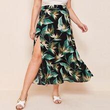 Plus Tropical Print High Split Hem Skirt