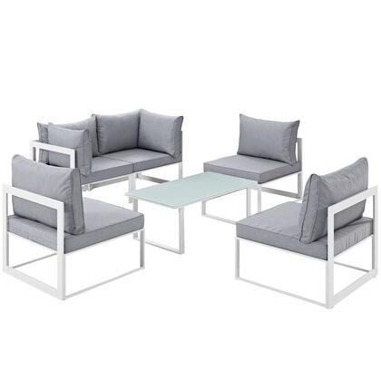 Fortuna Collection EEI-1726-WHI-GRY-SET 6 PC Patio Sectional Set with All-Weather Polyester Cushions  Tempered Glass Top Coffee Table and Powder