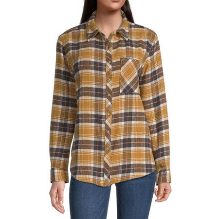Arizona-Juniors Womens Long Sleeve Flannel Shirt, Medium , Brown