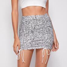 Dalmatian Print Drawstring Ruched Skirt