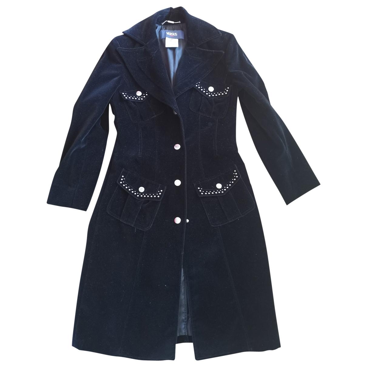 Versus - Manteau   pour femme en coton - noir