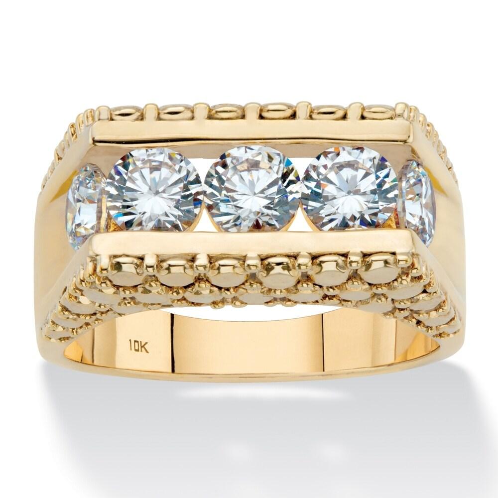 Men's 10K Yellow Gold Cubic Zirconia Stippled Ring (10)