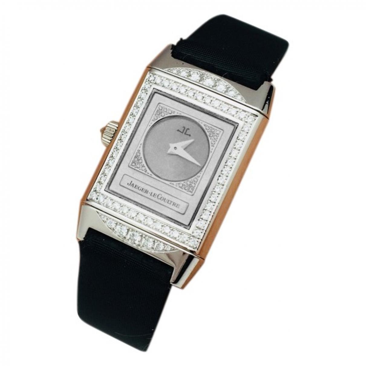 Jaeger-lecoultre - Montre Reverso Duetto pour femme en or blanc - noir