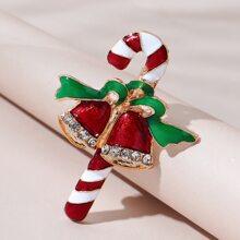 Christmas Stick & Bell Design Brooch