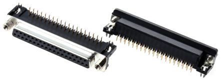 ASSMANN WSW A-DF Series, 37 Way Right Angle Through Hole PCB D-sub Connector Socket, 2.77mm Pitch, with 4-40 UNC (5)