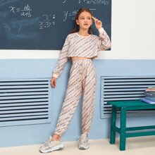 Girls Striped and Letter Graphic Top & Pants Set