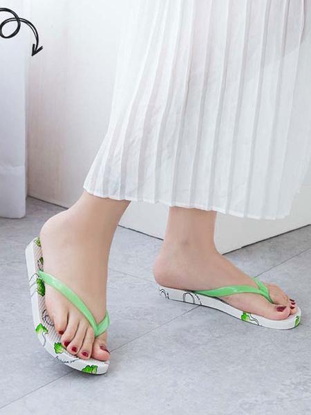 Milanoo Zapatillas sandalias Chanclas Sandalias estampadas amarillas Sandalias Zapatos de mujer