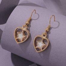 Star Decor Heart Drop Earrings