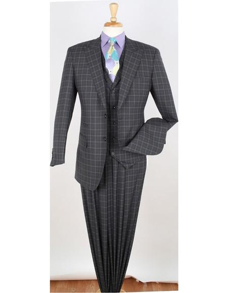 1 Wool Fashion Suit Pleated Pants Plaid ~ Windowpane Hounds