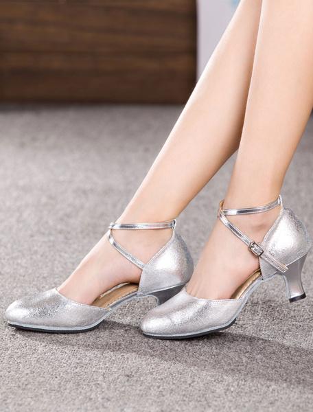 Milanoo Latin Dance Shoes Black Cowhide Round Toe Criss Cross Ballroom Shoes