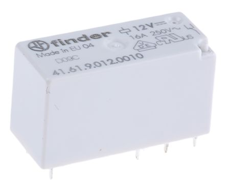 Finder , 12V dc Coil Non-Latching Relay SPDT, 16A Switching Current PCB Mount Single Pole