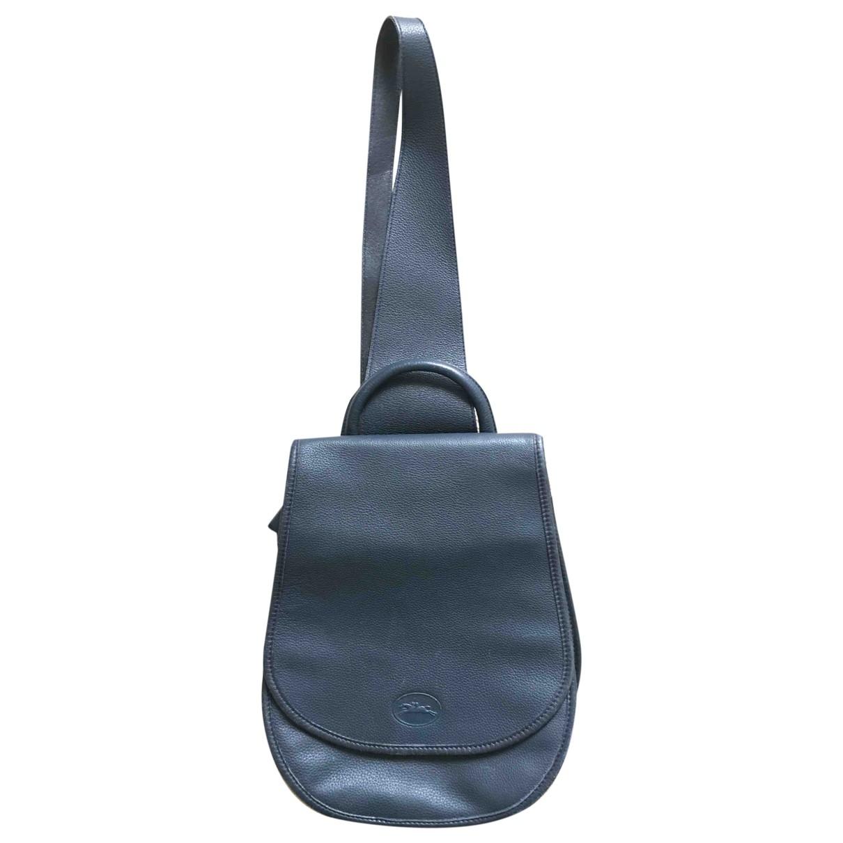 Longchamp - Sac a dos   pour femme en cuir - bleu