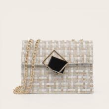 Bolsa bandolera tweed con diseño geometrico