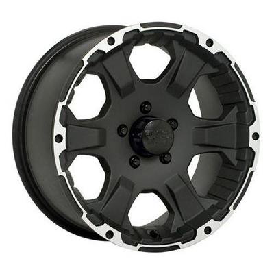 Black Rock 910 Intruder, 17x8.5 Wheel with 5 on 5.5 Bolt Pattern - Matte Black with Machine Accents- 910B7855553