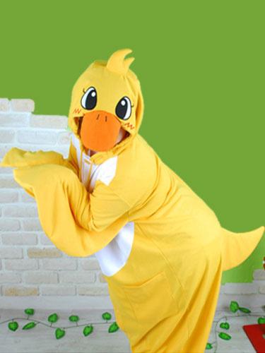 Milanoo Kigurumi Pajama Onesie Duck 2020 Yellow Flannel Animal Halloween Sleepwear