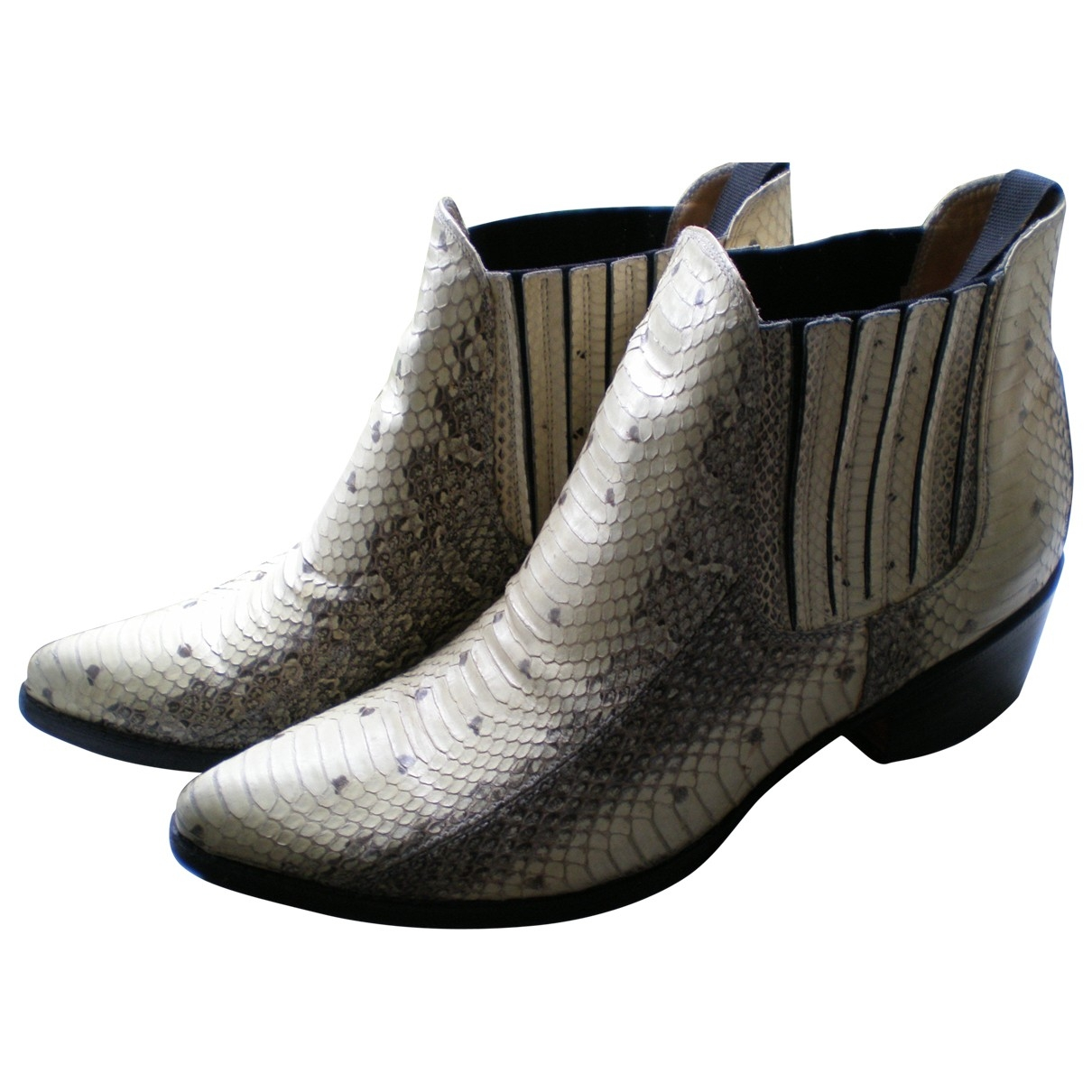 Non Signé / Unsigned \N Ecru Exotic leathers Ankle boots for Women 39 EU