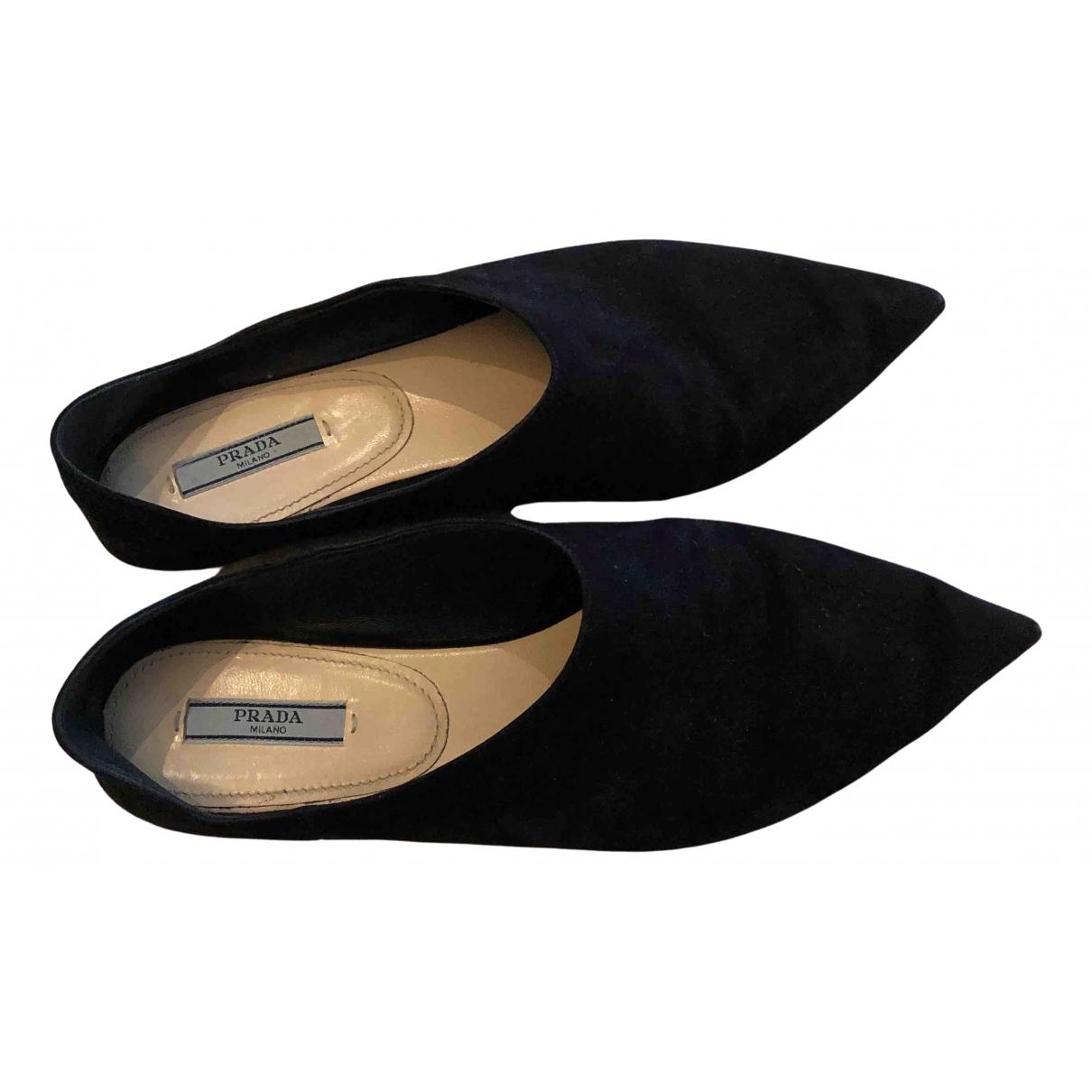 Prada \N Black Suede Flats for Women 38 EU