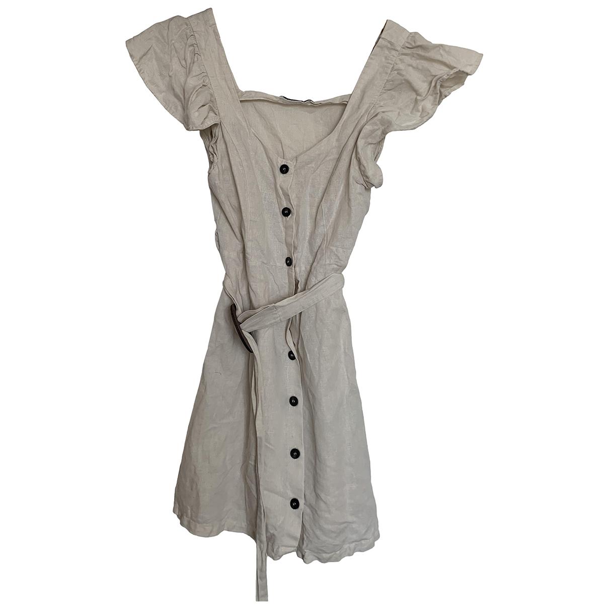 Zara \N Beige Cotton dress for Women 36 FR