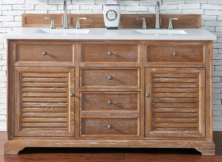 Savannah Collection 238-104-5611-3ODSC 60 Double Vanity Cabinet  Driftwood  with 3 CM Santa Cecilia Top with Oval