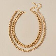 2 Stuecke einfache Halskette