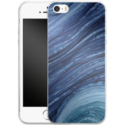 Apple iPhone SE Silikon Handyhuelle - Blue Agate Crystal Slice von Becky Starsmore