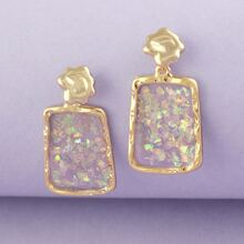 1pair Glitter Rectangle Dangling Earrings