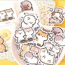 45 Stuecke Aufkleber mit Karikatur Katze Muster